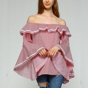 New Off Shoulder Wide Bell Sleeve Top Shirt Red S